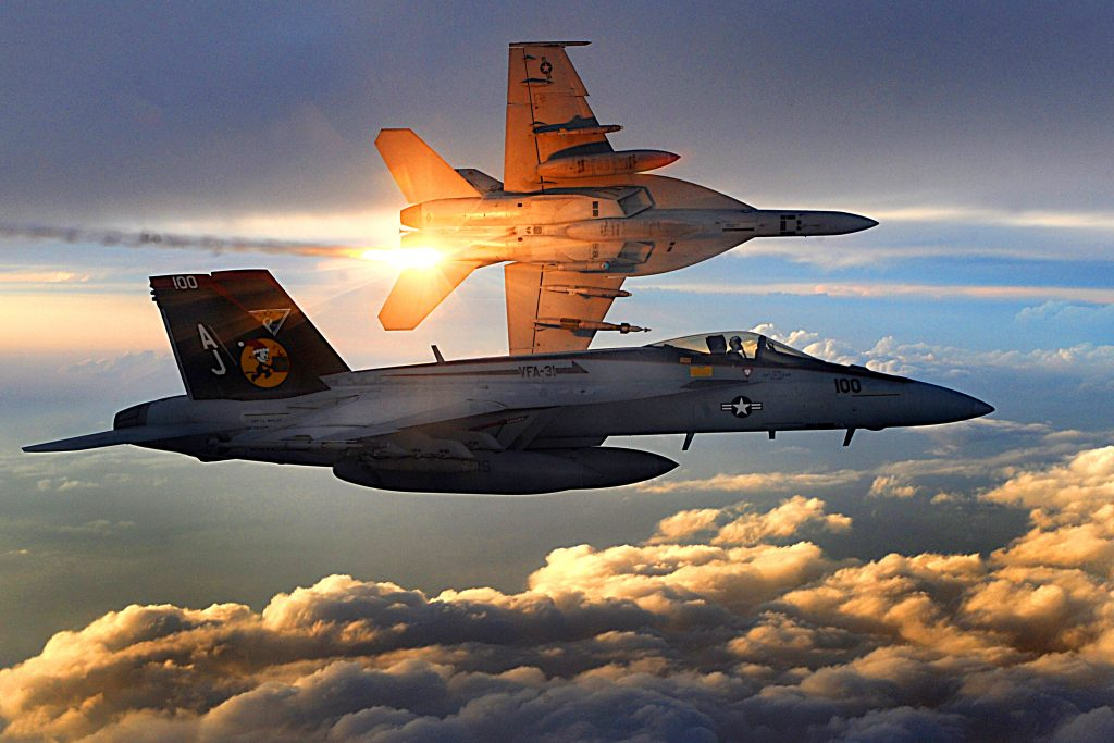 081215-F-7823A-285        Two U.S. Navy F/A-18 Super Hornets from Strike Fighter Squadron 31 fly a combat patrol over Afghanistan on Dec. 15, 2008.  DoD photo by Staff Sgt. Aaron Allmon, U.S. Air Force.  (Released)